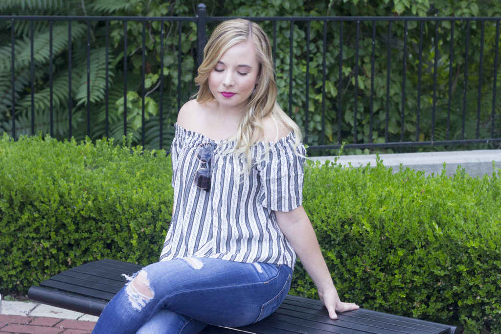 Striped Off-The-Shoulder Top | Coffee With Summer