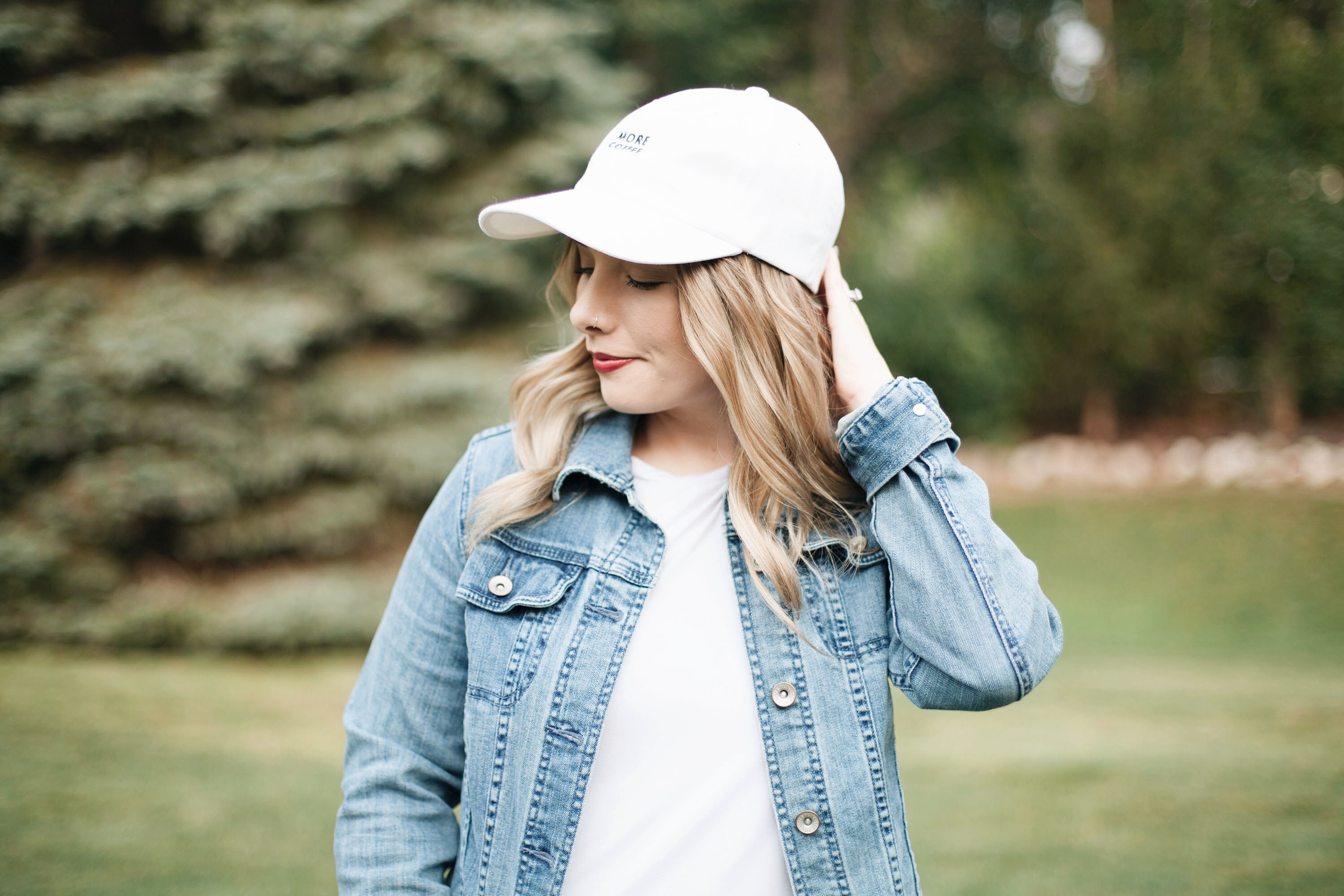 White, Casual Dress With Denim Jacket | Coffee With Summer