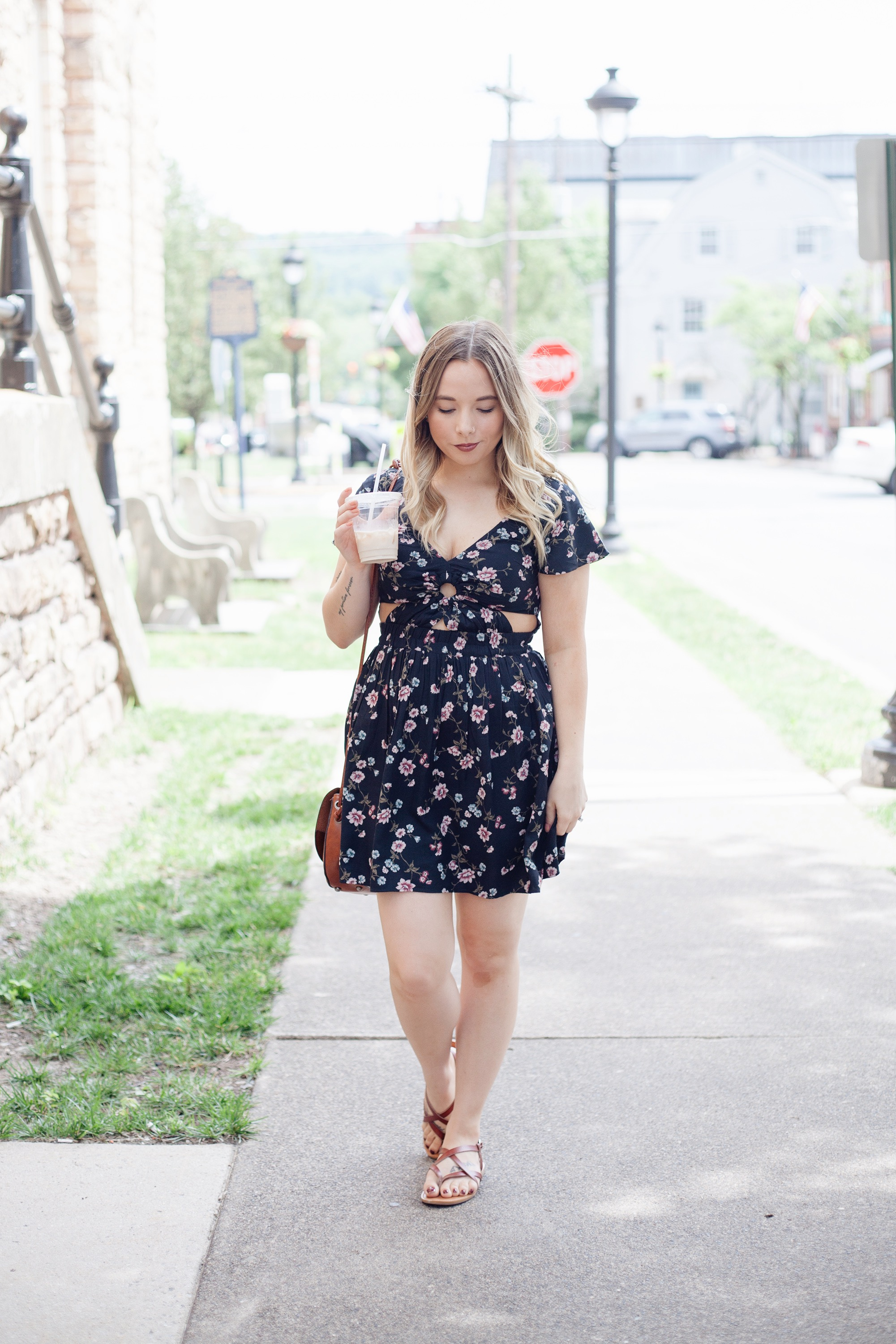 Floral Keyhole Fit & Flare Dress | Coffee With Summer