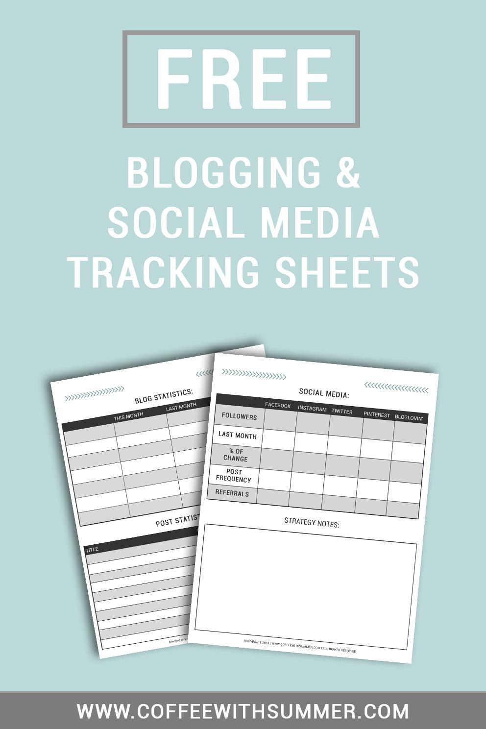 FREE Blogging & Social Media Tracking Sheets