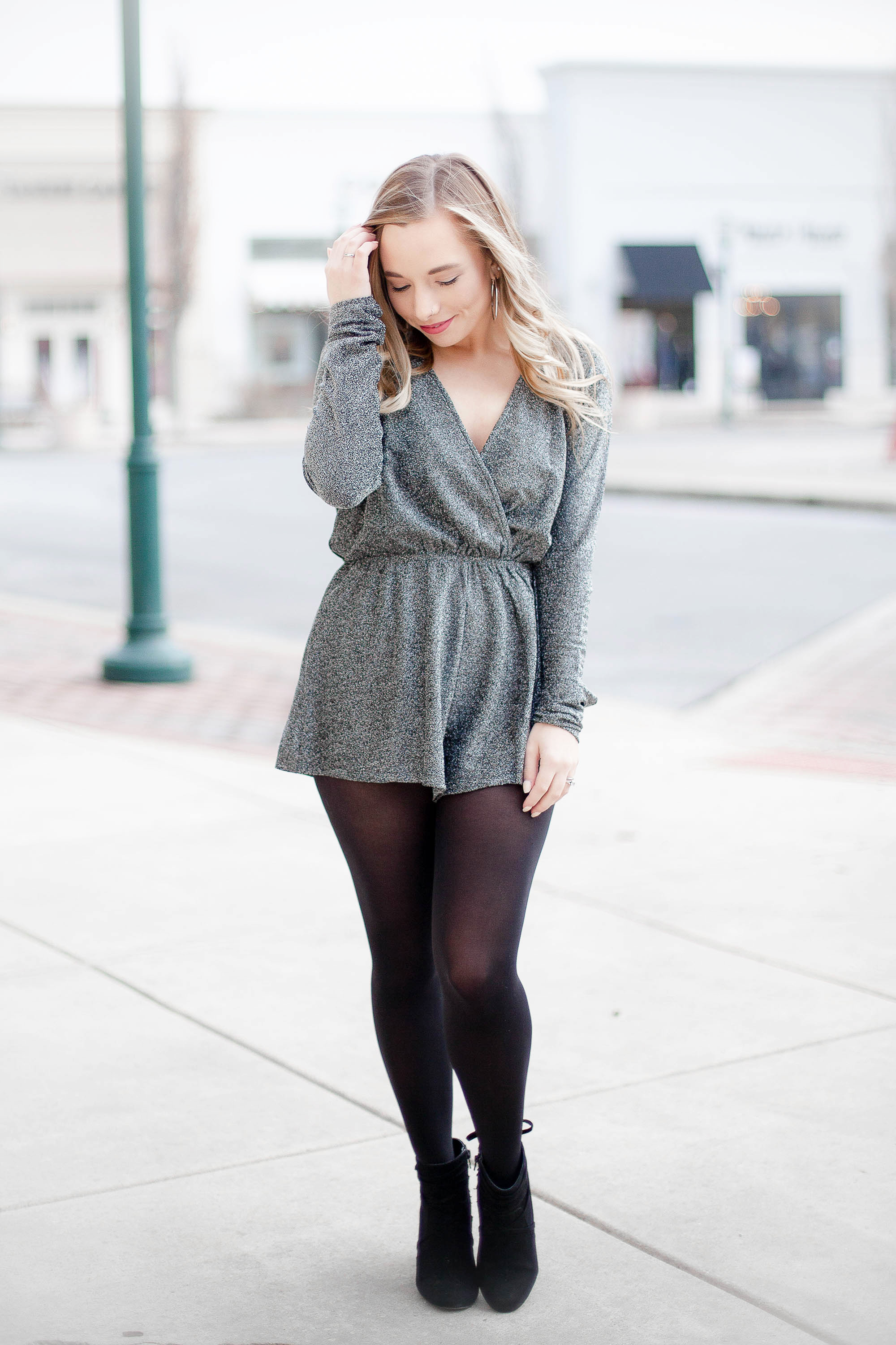 Gray Shimmer Romper | Coffee With Summer