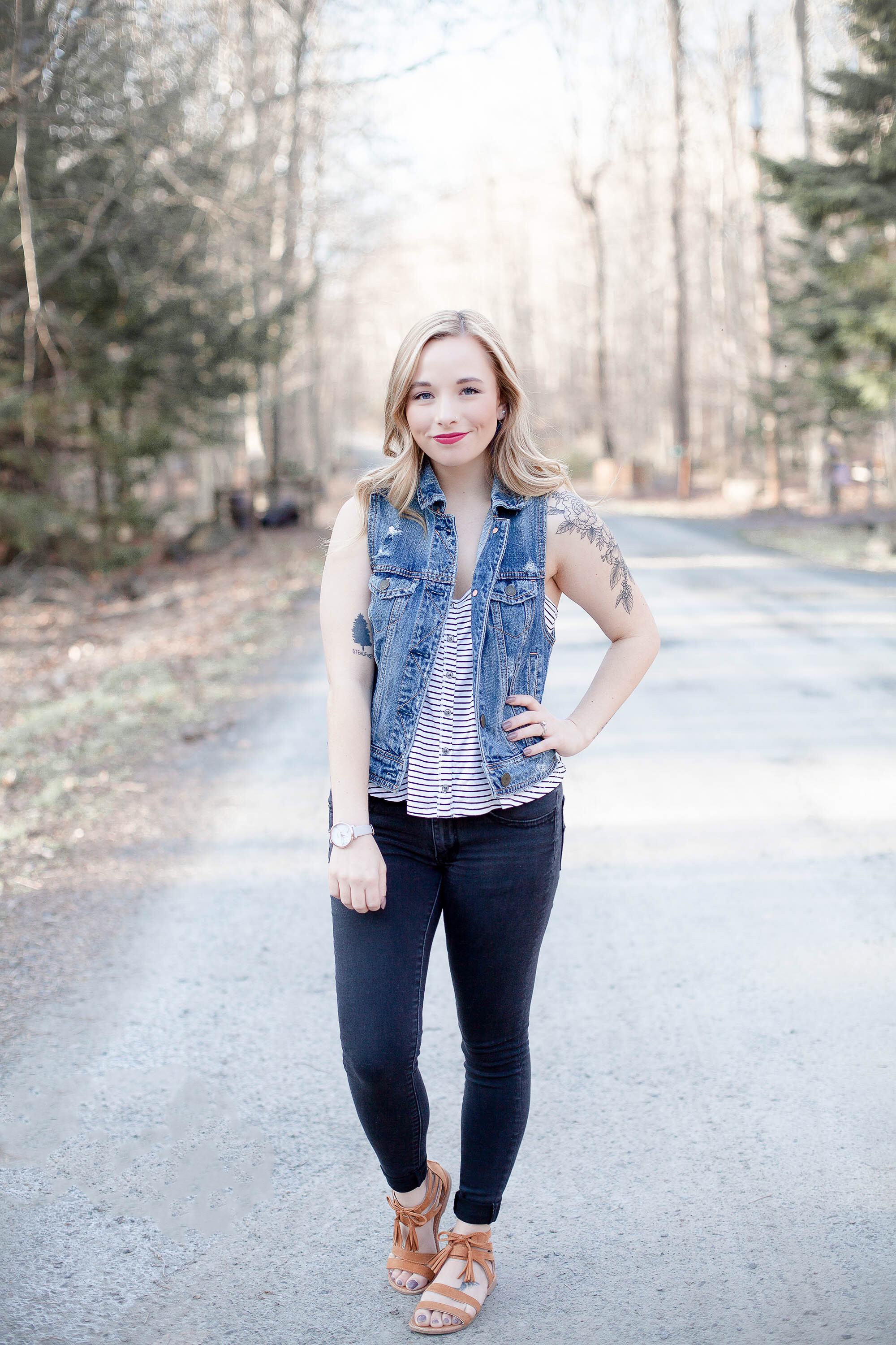 Sleeveless Denim Vest Outfit | Coffee With Summer