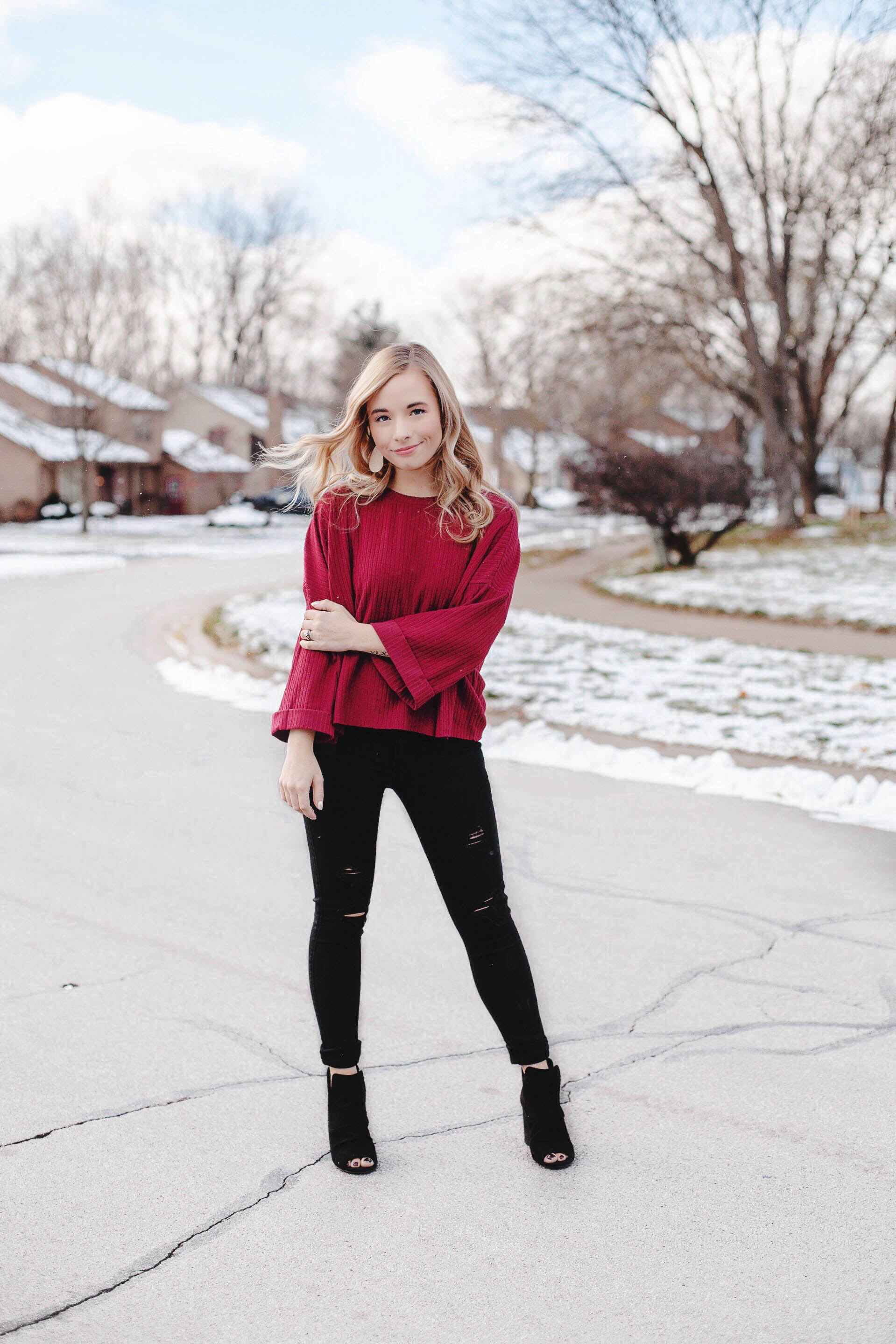 Black Distressed Denim | Winter Outfit