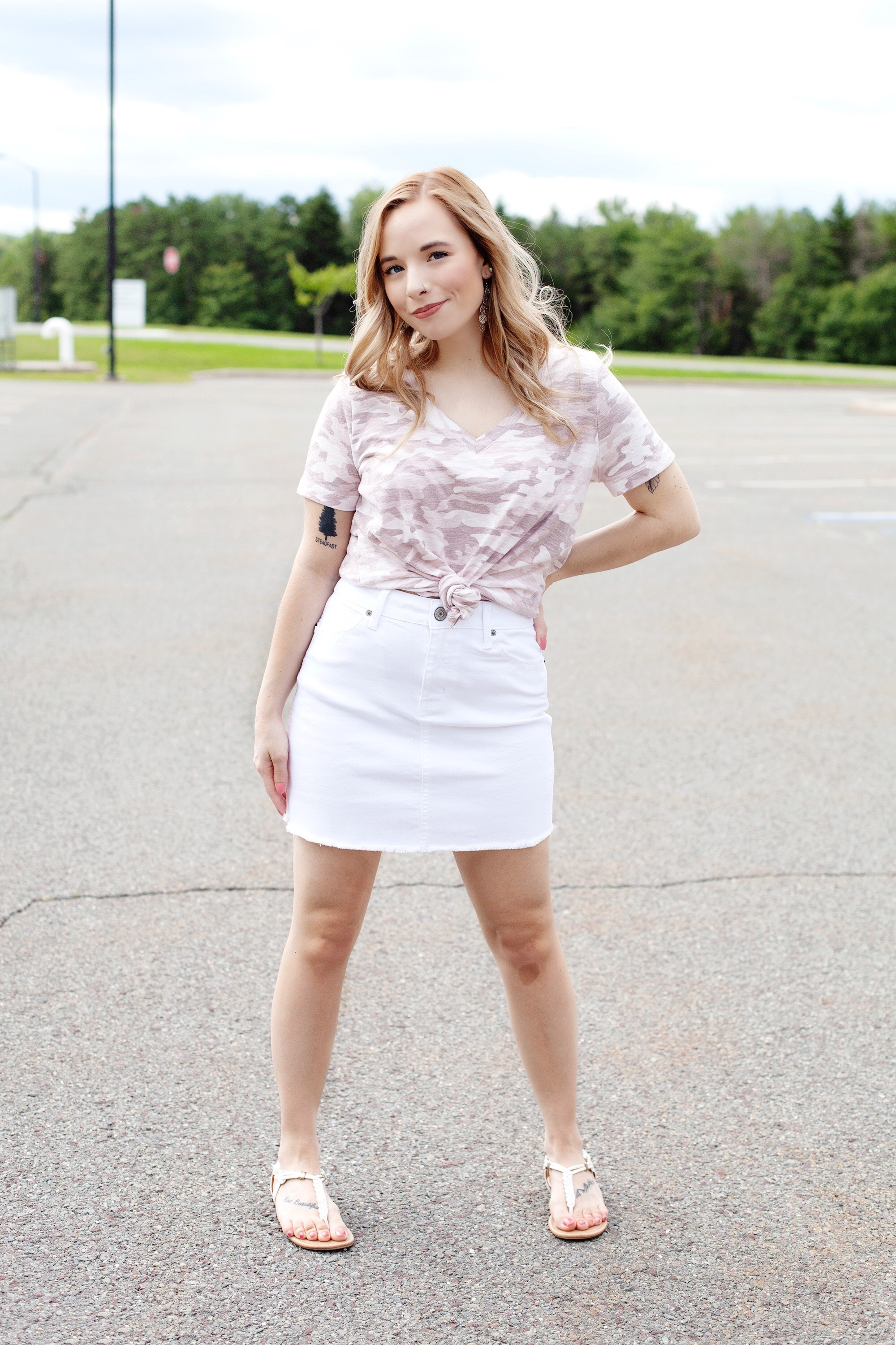 Camo Top And Skirt Outfit