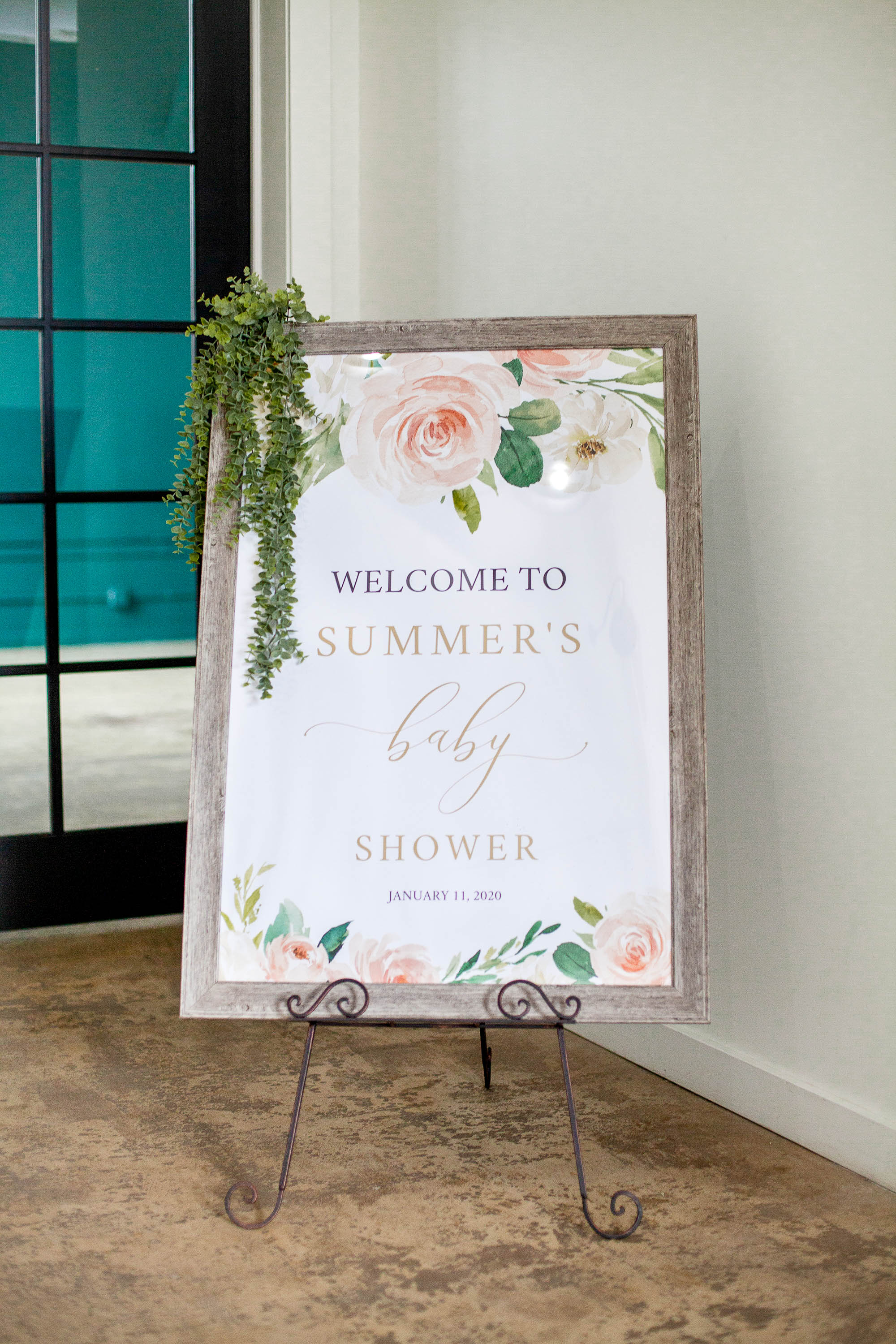 Floral Baby Shower Welcome Sign